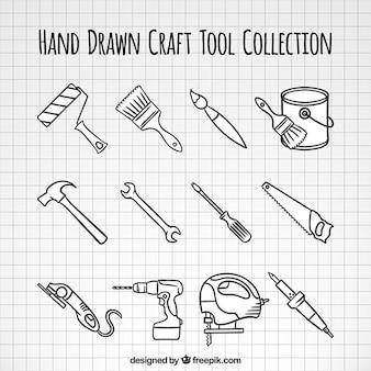 Zbiór narzędzi do obróbki drewna ręcznie rysowane