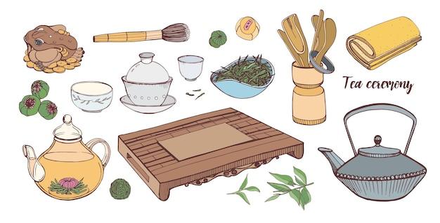 Zbiór narzędzi do tradycyjnej azjatyckiej ceremonii parzenia herbaty na białym tle