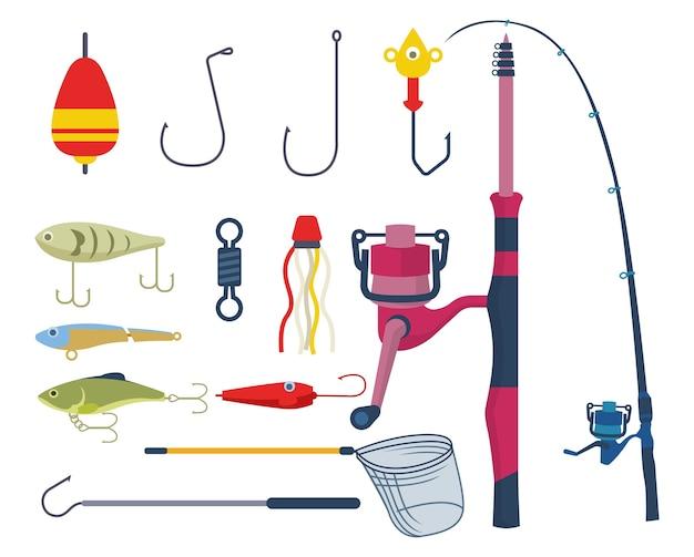 Zbiór narzędzi, których można używać podczas wędkowania. różne przydatne narzędzia, jeśli chcesz łowić ryby
