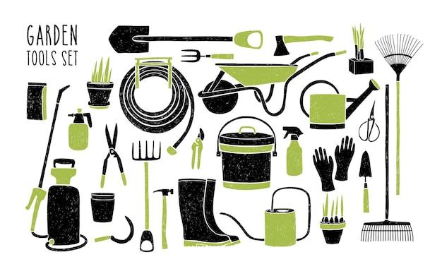 Zbiór narzędzi ogrodniczych na białym tle.