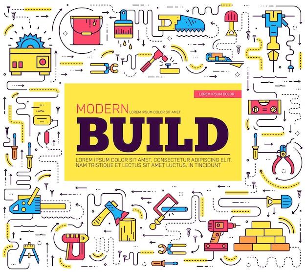 Zbiór narzędzi roboczych ikony elementów projektu