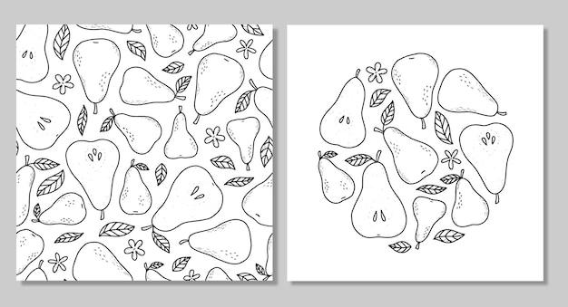 Zbiór naszkicowanych gruszek i monochromatyczny wzór