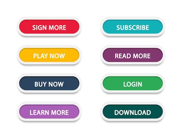 Zbiór nowoczesnych przycisków do strony internetowej i interfejsu użytkownika
