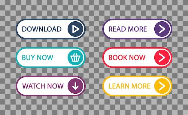 Zbiór nowoczesnych przycisków interfejsu użytkownika