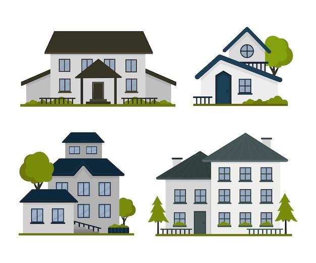 Zbiór nowoczesnych różnych domów