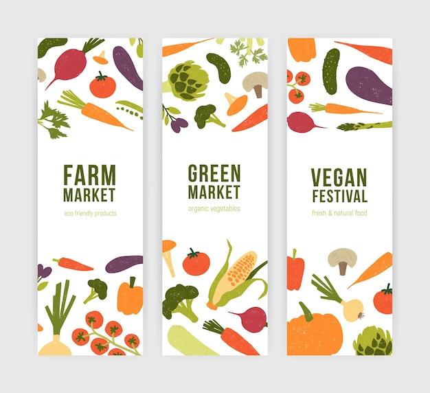 Zbiór nowoczesnych szablonów banerów pionowych ze świeżych organicznych pysznych warzyw i miejsce na tekst.