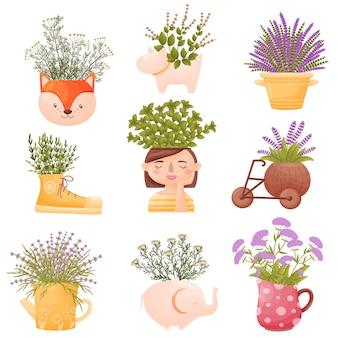 Zbiór obrazów dzikich kwiatów w uroczych doniczkach i wazonach.