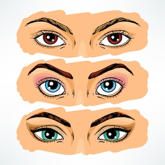 Zbiór oczu różnych kobiet.