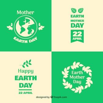 Zbiór odznak na międzynarodowy dzień ziemi