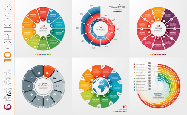 Zbiór opcji szablonów wykresów kołowych.