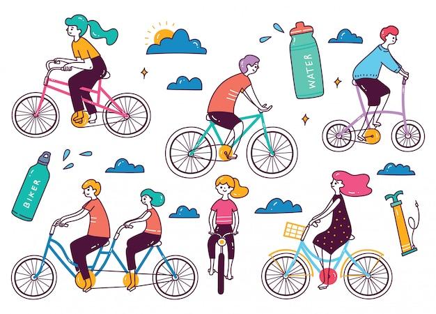 Zbiór osób jeżdżących na rowerze