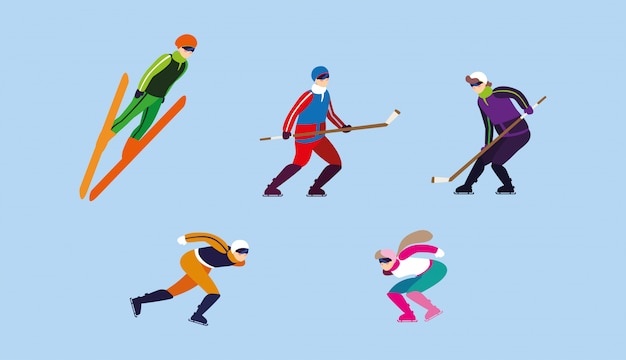 Zbiór osób uprawiających ekstremalne sporty zimowe