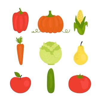 Zbiór owoców i warzyw. zdrowa żywność wegetariańska, pełnowartościowa żywność, witaminy. ilustracja w stylu płaskiej.