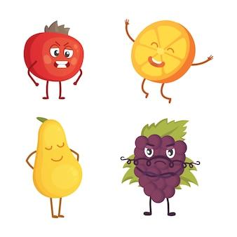 Zbiór owoców kreskówka. ilustracja z zabawnymi postaciami. zabawny czas na świeże jedzenie.