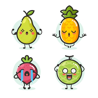 Zbiór owoców kreskówka maskotka w różnych emocji działania