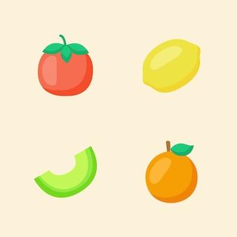 Zbiór owoców na białym tle na beż