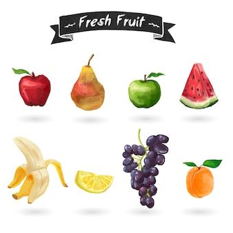 Zbiór owoców w stylu przypominającym akwarele. odosobniony.