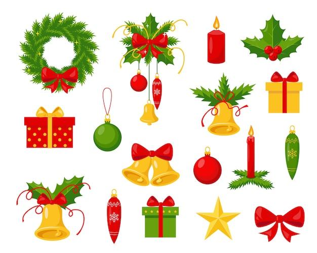 Zbiór ozdób choinkowych na białym tle. elementy na zimę. tradycyjne symbole noworoczne i świąteczne. ilustracje.