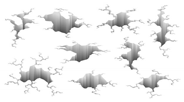 Zbiór pęknięć po trzęsieniu ziemi. efekt dziury i spękana powierzchnia. dziury w ziemi z pęknięciami i zniszczeniem ziemi pękają na białym tle kreskówka wektor. ilustracji wektorowych