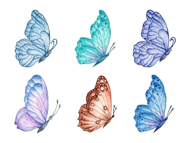 Zbiór pięknych motyli akwarela na białym tle
