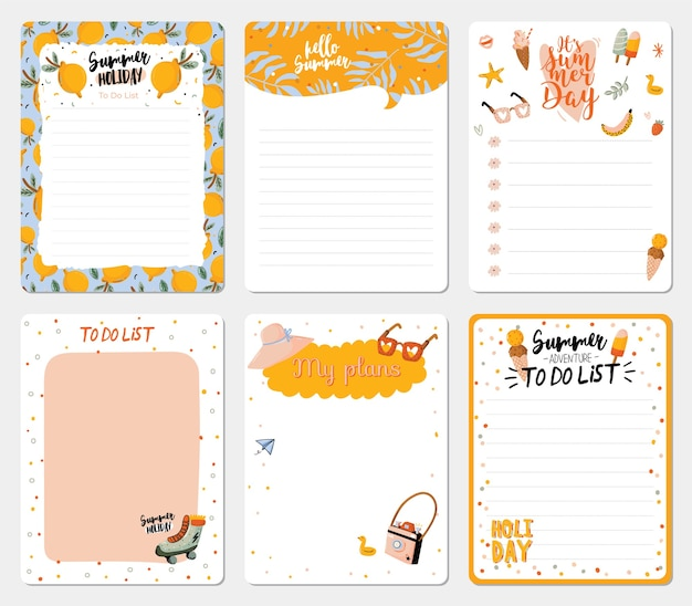 Zbiór planerów tygodniowych i dziennych, arkusz na notatki i listy rzeczy do zrobienia w okresie letnim
