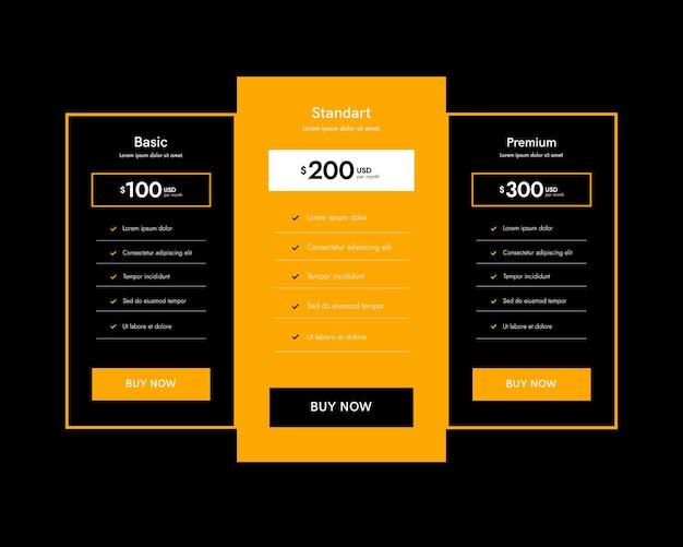 Zbiór planów cenowych dla aplikacji i strony internetowej. tabele z taryfami. kolumny interfejsu użytkownika, elementy sieci web.
