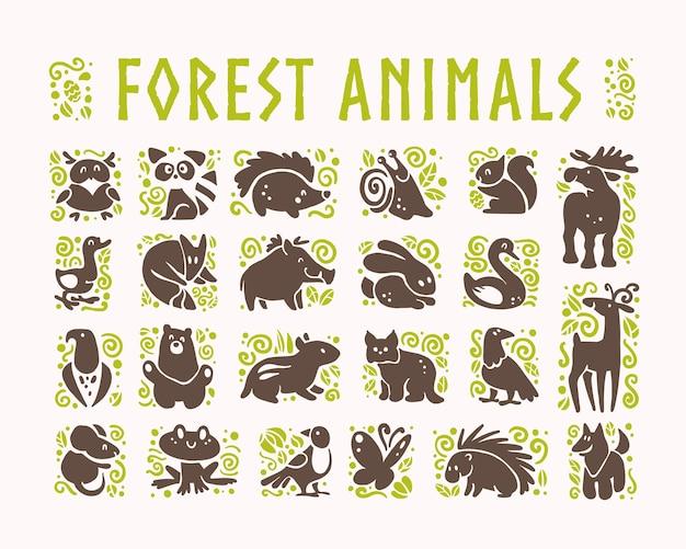 Zbiór płaskich uroczych ikon zwierząt na białym tle.
