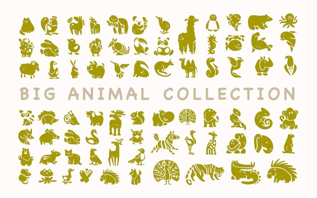 Zbiór płaskich uroczych ikon zwierząt na białym tle