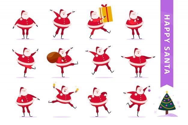 Zbiór płaskich zabawnych postaci świętego mikołaja na białym tle. święty mikołaj ma duże pudełko upominkowe, torbę z prezentami, dzwonki, taniec, uśmiech i ozdoby choinkowe.