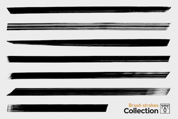 Zbiór pojedynczych pociągnięć pędzla. czarne ręcznie malowane pociągnięcia pędzlem. atrament grunge linie proste.
