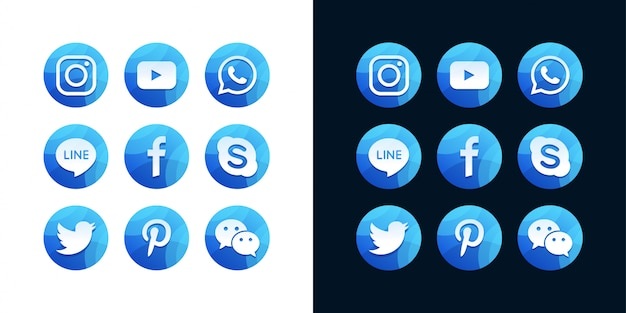 Zbiór popularnych ikon mediów społecznościowych na białym i ciemnym tle