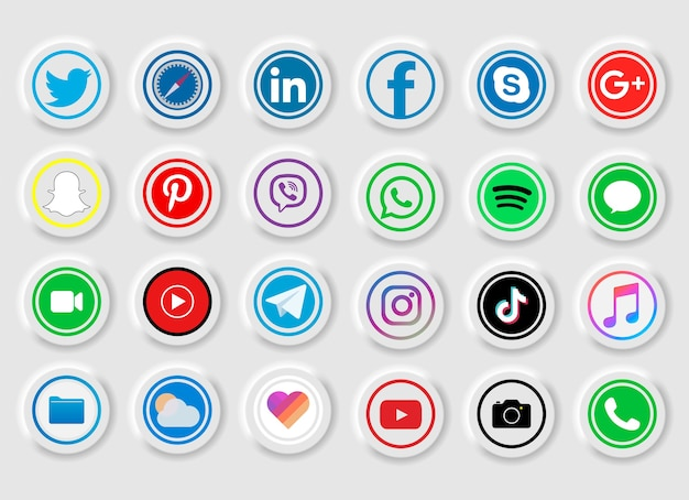 Zbiór popularnych ikon mediów społecznościowych na białym tle