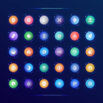 Zbiór popularnych ikon waluty crypto