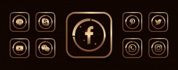 Zbiór popularnych szablonów ikon mediów społecznościowych