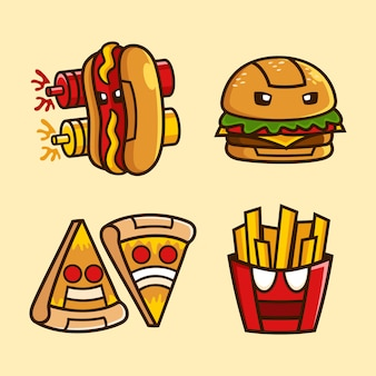 Zbiór postaci z kreskówki robota fast food