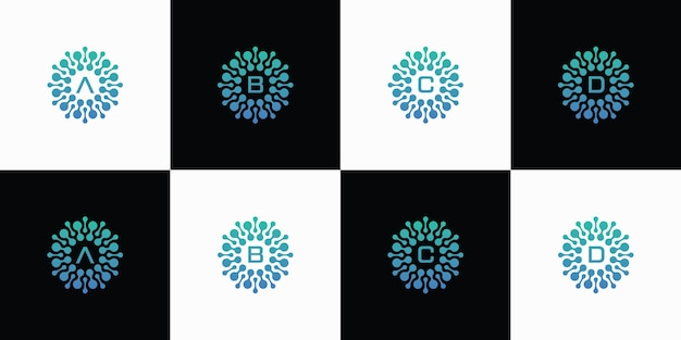 Zbiór projektów logo liter z koncepcją atomów cząsteczek kropek