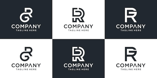 Zbiór projektów logo litery rg