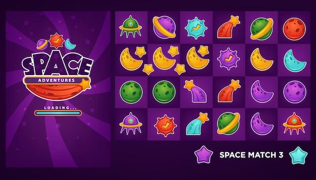 Zbiór przedmiotów i elemantów do gry mobilnej match 3