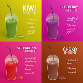 Zbiór przepisów smoothie lub koktajli z kolorowymi napojami z owoców tropikalnych, jagód, czekolady i miejscem na tekst. napoje w plastikowych szklankach z pokrywką i słomką. ilustracja.