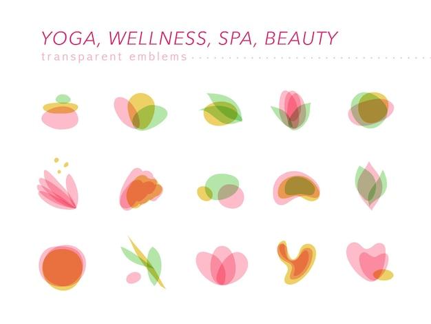 Zbiór przezroczystych symboli piękna, spa i jogi w jasnych kolorach na białym tle.