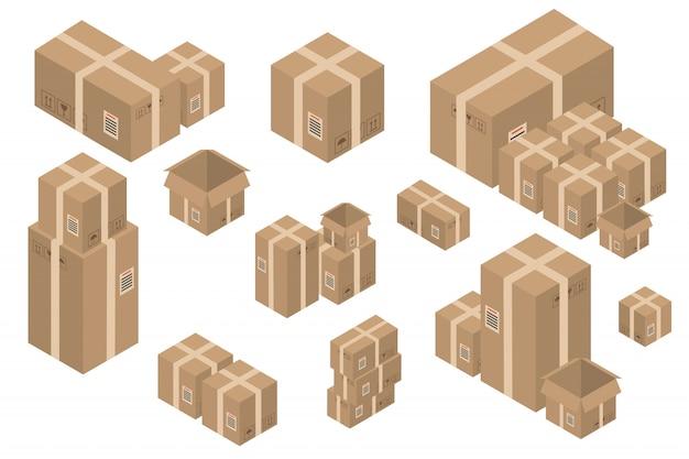 Zbiór pudełek kartonowych dostawy izometrycznej na białym tle. koncepcja dostawy, transportu i prezentu.
