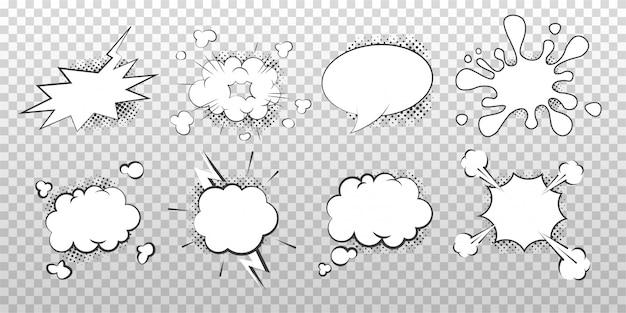 Zbiór pusty papier biały bańka mowy i myśli. kreskówka pop-art i kontra szablon pęcherzyków komiksowych. ilustracja wektorowa na białym tle.