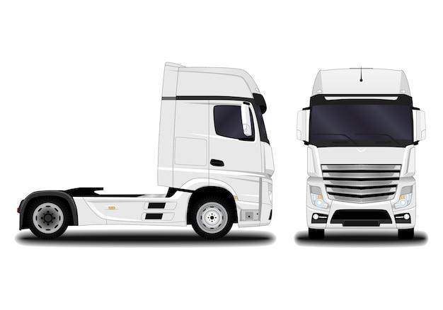 Zbiór realistycznych ciężarówek na białym tle
