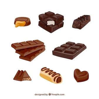 Zbiór realistycznych tabliczek czekolady