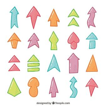 Zbiór ręcznie malowane kolorowe strzałki