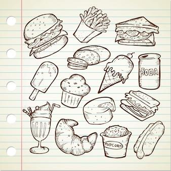 Zbiór ręcznie rysowane gryzmoły doodles