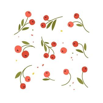 Zbiór ręcznie rysowane szkic jagód i gałęzi