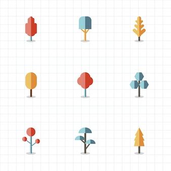 Zbiór roślin i drzewiastych wektorów