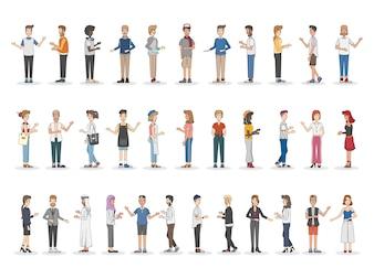 Zbiór różnorodnych ilustrowanych osób