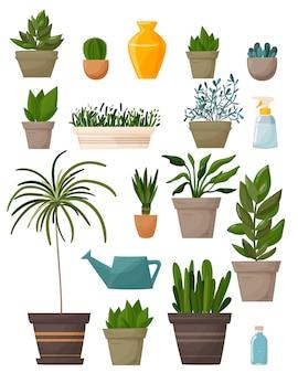Zbiór roślin. sukulenty i rośliny doniczkowe. rysunek odręczny. miejska dżungla, modne elementy wystroju domu